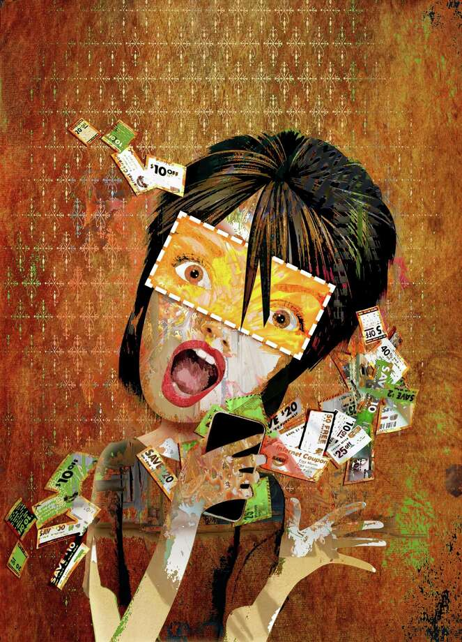 300 dpi Rick Nease illustration of woman fighting urge to overspend because of all the e-coupons she has collected on the Internet. Detroit Free Press 2012  krtnational national; krtworld world; krt; krtcampus campus; mctillustration; 01027000; ACE; ENT; internet; krtentertainment entertainment; 10017000; consumer issue; FEA; krtfeatures features; krtlifestyle lifestyle; LEI; leisure; LIF; krtdiversity diversity; woman women; budget; de contributed nease; electronic coupon e-coupon; 2012; krt2012; spending; sale Photo: Nease / © MCT 2012