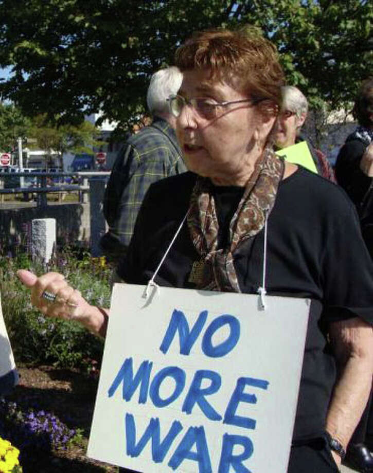 The case of Estelle Margolis, the Westport woman who brought a BB gun and ammunition to a Jan. 8 Representative Town Meeting session, has been continued to March 27. Margolis is also a prominent local anti-war activist. Photo: Meg Barone / Westport News freelance