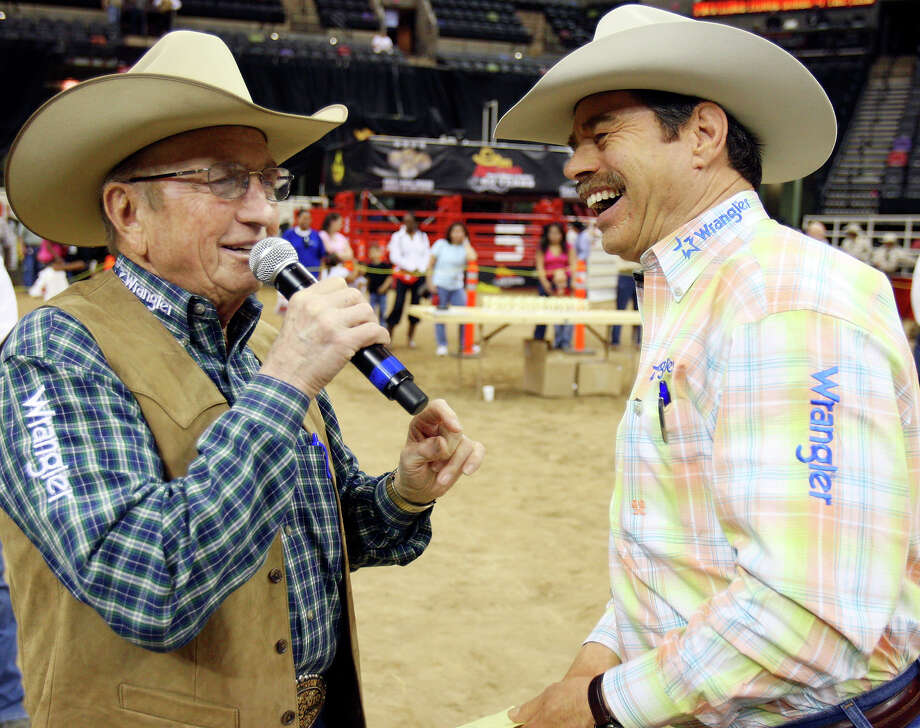 Rodeo Announcers Hadley Barrett (left) and Randy Corley share a laugh while announcing the Exceptional Rodeo during 60th annual San Antonio Stock Show & Rodeo held Friday Feb. 13, 2009 at the AT&T Center. Photo: EDWARD A. ORNELAS, SAN ANTONIO EXPRESS-NEWS / eaornelas@express-news.net