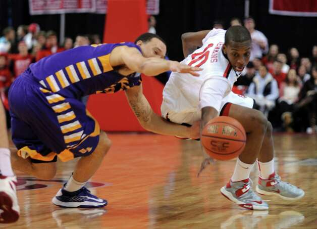 Fairfield University mens basketball plays the University of Albany Saturday, Feb. 23, 2013 at the Webster Bank Arena in Bridgeport, Conn. Photo: Autumn Driscoll / Connecticut Post
