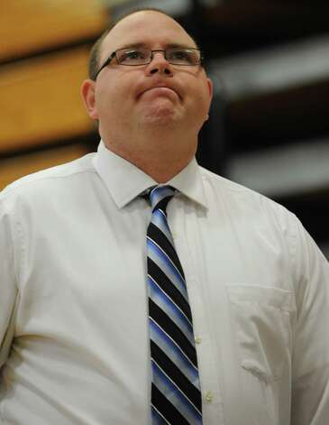Wilton coach Joel Geriak watches game action against Westhill during the FCIAC boys' basketball quarterfinals Saturday, Feb. 23, 2013 at Fairfield Ludlowe High School in Fairfield, Conn. Photo: Autumn Driscoll / Connecticut Post