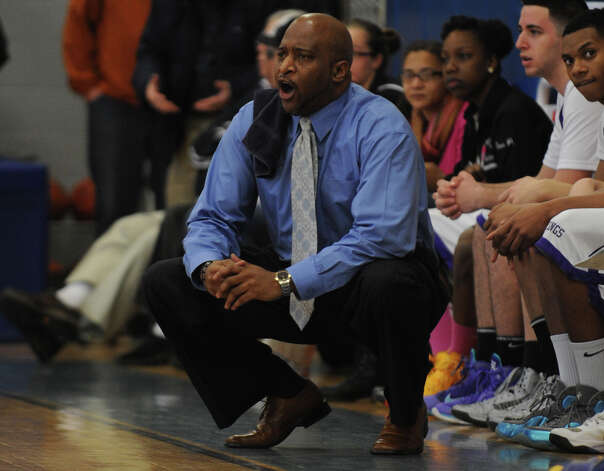 Westhill coach Howard White watches game action against Wilton during the FCIAC boys' basketball quarterfinals Saturday, Feb. 23, 2013 at Fairfield Ludlowe High School in Fairfield, Conn. Photo: Autumn Driscoll / Connecticut Post