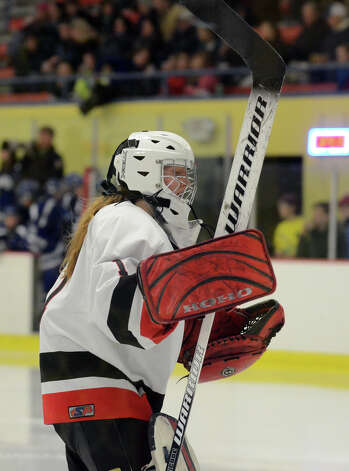 New Canaan goalie Nathalie Deney (1) skates out onto the ice during the start of the third period of the FCIAC girls hockey finals at Terry Conners Rink in Stamford on Saturday, Feb. 23, 2013. Photo: Amy Mortensen / Connecticut Post Freelance