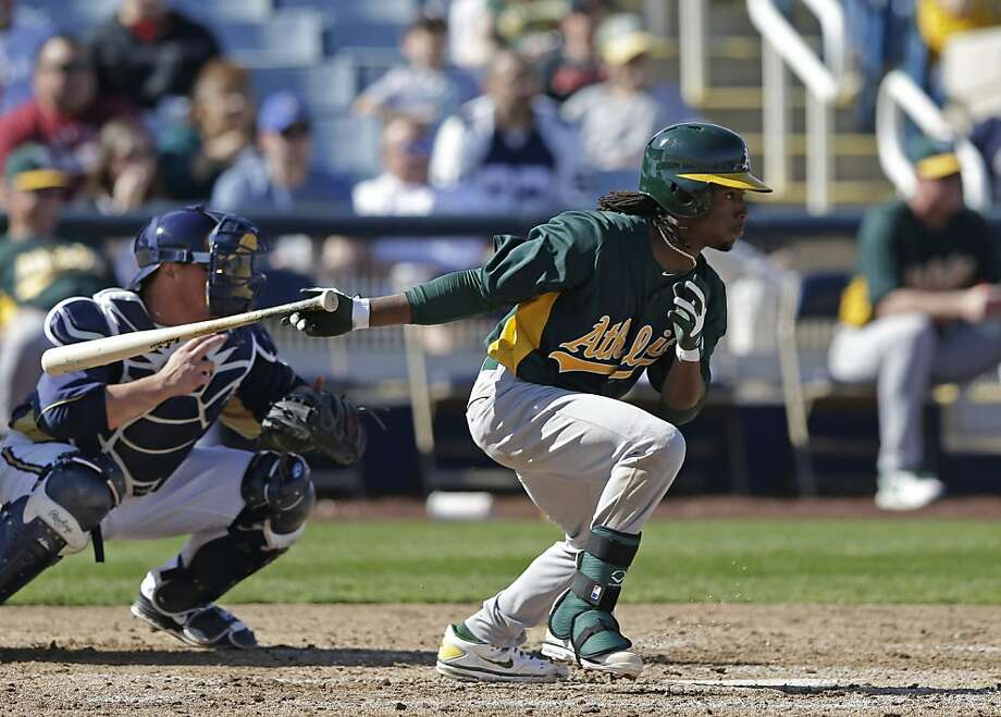 Jemile Weeks had a double to open the A's first exhibition game of the spring. Photo: Morry Gash, Associated Press