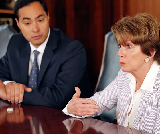 U.S. Rep. Joaquin Castro (left) listens as House Minority Leader Nancy Pelosi speaks Saturday Feb. 23, 2013 during a meeting with the San Antoino Express-News Editorial Board at the San Antoino Express-News. Photo: Edward A. Ornelas, San Antonio Express-News / © 2013 San Antonio Express-News