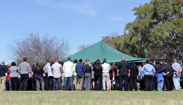 "Family and friends attend the burial of Brandeis High School junior Gabriella ""Gabby"" Lerma Saturday Feb. 23, 2013 at Resurrectuon Cemetery. Lerma, 17, died in a car crash Tuesday that also claimed the life of Brandeis High School student Georgina ""Gina"" Rodriguez, 16. Photo: Edward A. Ornelas, San Antonio Express-News / © 2013 San Antonio Express-News"
