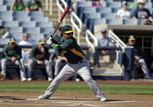A's shortstop Hiro Nakajima walked in his first plate appearance and made all the right moves in the field. Photo: Morry Gash, Associated Press