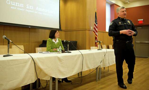Darien Police Chief Duane Lovello speaks at the Darien Library during a discussion about gun violence prevention on Saturday, February 23, 2013. Photo: Lindsay Perry / Stamford Advocate