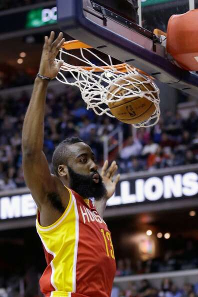 James Harden dunks against the Wizards.