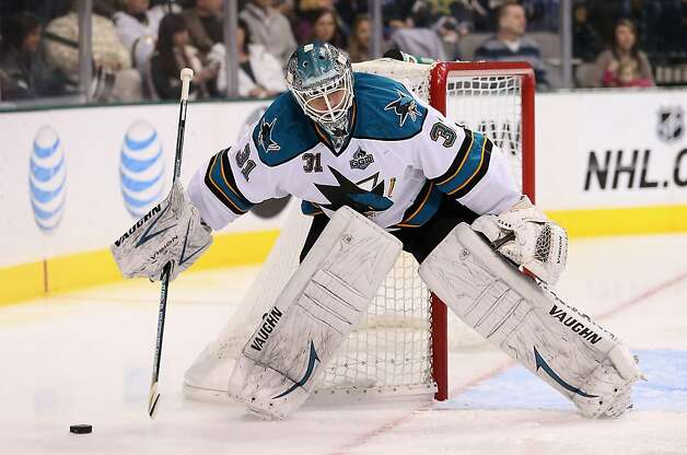 DALLAS, TX - FEBRUARY Antti Niemi #31 of the San Jose Sharks in goal against the Dallas Stars at American Airlines Center on February 23, 2013 in Dallas, Texas.  (Photo by Ronald Martinez/Getty Images) Photo: Ronald Martinez, Getty Images