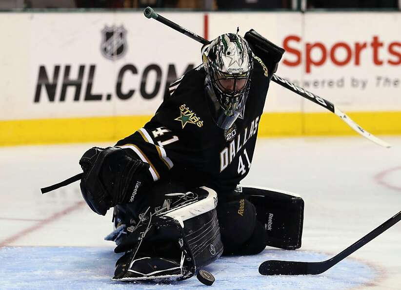 DALLAS, TX - FEBRUARY 23:  Cris Nilstorp #41 of the Dallas Stars makes a save against the San Jose S