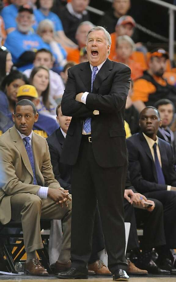 California coach Mike Montgomery calls to his players during the second half of an NCAA college basketball game against Oregon State in Corvallis, Ore., Saturday, Feb. 23, 2013. California edged Oregon State 60-59. (AP Photo/Greg Wahl-Stephens) Photo: Greg Wahl-Stephens, Associated Press