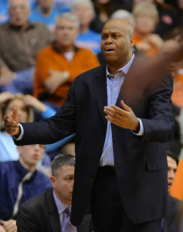 Oregon State coach Craig Robinson reacts to a call during the second half of an NCAA college basketball game against California in Corvallis, Ore., Saturday, Feb. 23, 2013. California edged Oregon State 60-59. (AP Photo/Greg Wahl-Stephens) Photo: Greg Wahl-Stephens, Associated Press
