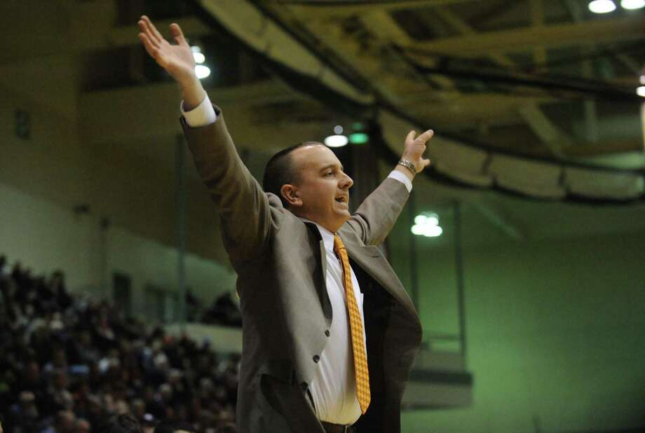 Bethlehem coach A.G. Irons during their boy's high school basketball game against Troy at HVCC on Saturday Feb. 23, 2013 in Troy, N.Y. (Michael P. Farrell/Times Union) Photo: Michael P. Farrell