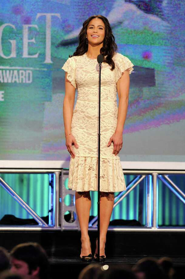 Paula Patton speaks onstage. Photo: Chris Pizzello/Invision/AP