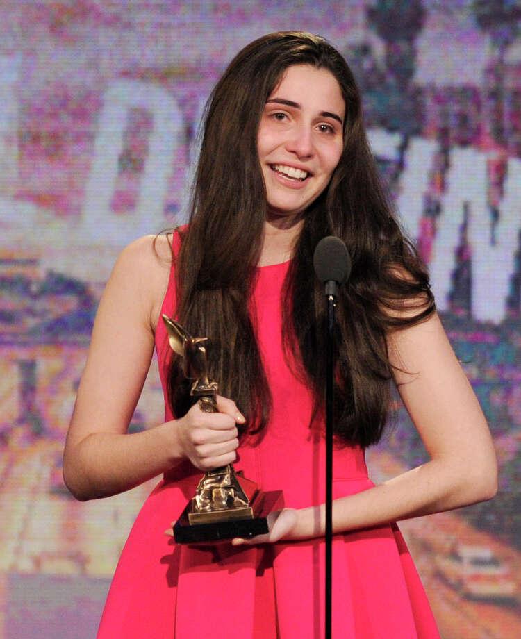 Sophie Savides accepts the Special Distinction award. Photo: Chris Pizzello/Invision/AP