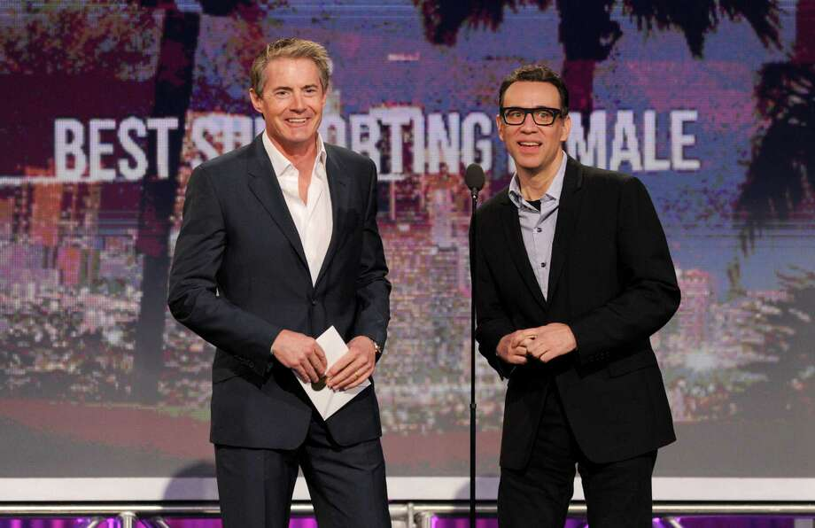 Actors Kyle MacLachlan, left, and Fred Armisen present the award for best supporting female. Photo: Chris Pizzello/Invision/AP