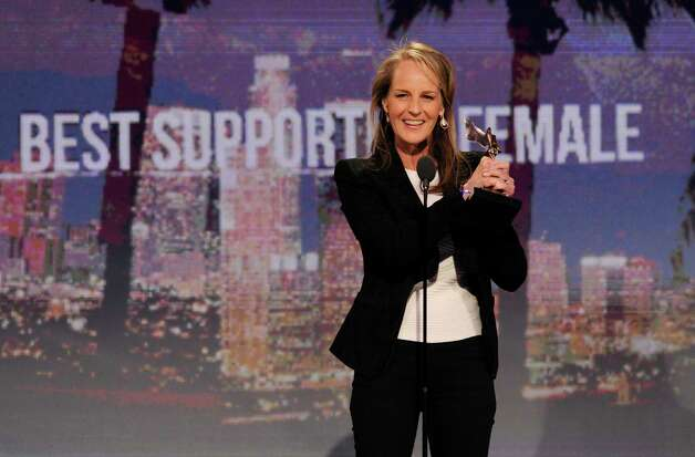 "Actress Helen Hunt accepts the award for best supporting female for ""The Sessions."" Photo: Chris Pizzello/Invision/AP"