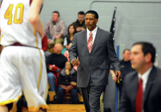 St. Joseph Head CoachChris Watts, during FCIAC boys basketball quarterfinal action against Greenwich in Fairfield, Conn. on Saturday February 23, 2013. Photo: Christian Abraham / Connecticut Post