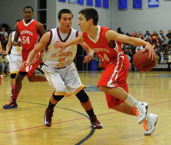 FCIAC boys basketball quarterfinal action between Greenwich and St. Joseph at in Fairfield, Conn. on Saturday February 23, 2013. Photo: Christian Abraham / Connecticut Post
