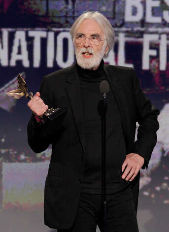 "Director Michael Haneke accepts the award for best international film for ""Amour."" Photo: Chris Pizzello/Invision/AP"