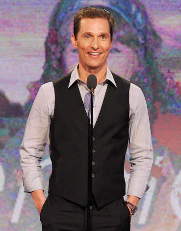 "Actor Matthew McConaughey speaks onstage.  McConaughey won the award for best supporting actor for his role in ""Magic Mike."" Photo: Chris Pizzello/Invision/AP"