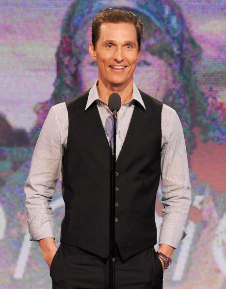 Actor Matthew McConaughey speaks onstage.  McConaughey won the award for best supporting actor for h
