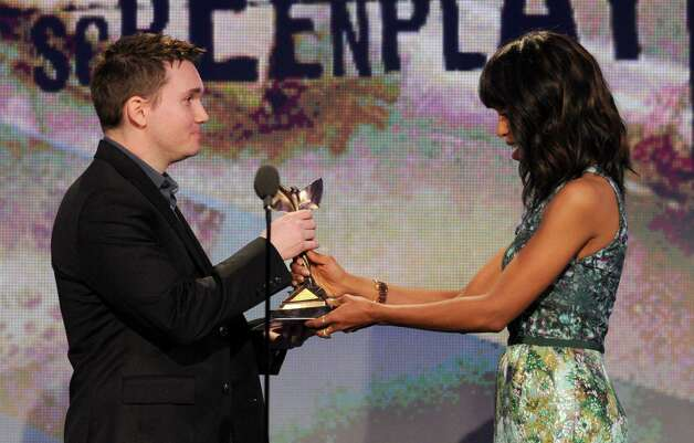 Actress Kerry Washington presents Derek Connolly with the best first screenplay award. Photo: Chris Pizzello/Invision/AP