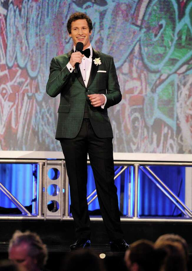 Host Andy Samberg speaks onstage. Photo: Chris Pizzello/Invision/AP