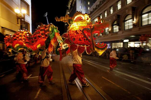 The White Crane School in San Francisco displays their dragon up Powell Street as San Francisco's Chinese New Year parade makes it's way through downtown on Saturday Feb. 23, 2013. Photo: Michael Macor, The Chronicle