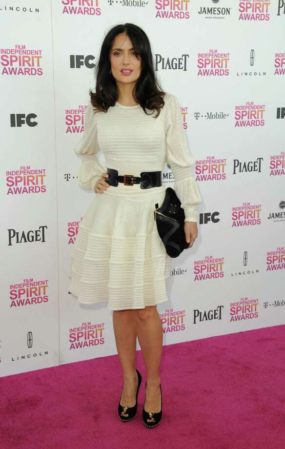 Actress Salma Hayek arrives. Photo: Jordan Strauss/Invision/AP