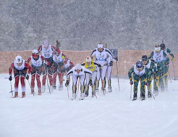 In this photo provided by Montana State University, skiers sprint in the start of the women's 15K freestyle cross country skiing event at the NCAA Western Championships, Saturday, Feb. 23, 2013 at Bohart Ranch near Bozeman, Mont. (AP Photo/Montana State University, Kelly Gorham) Photo: Kelly Gorham, Associated Press