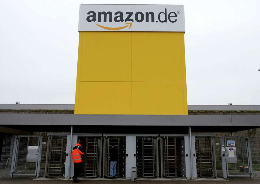 The internet trader Amazon main entrance is seen at the company's logistic center in Rheinberg, Germ