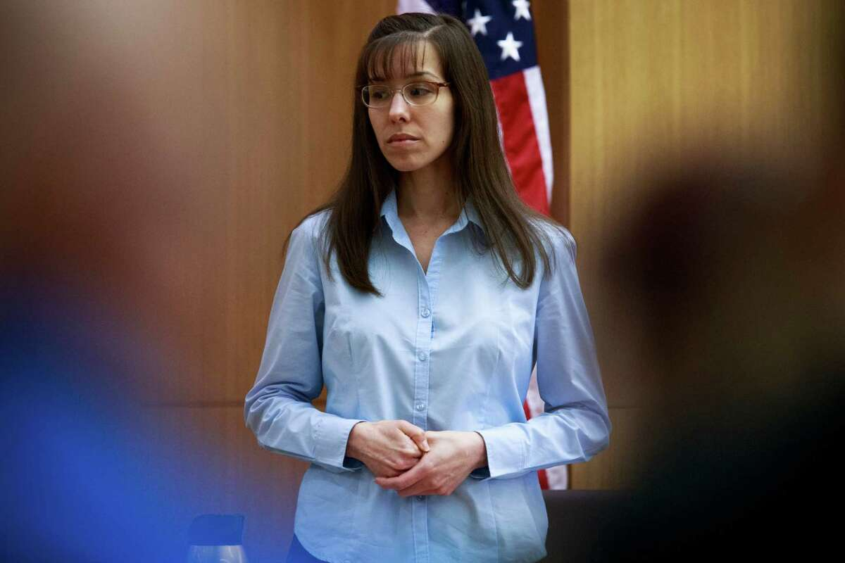Defendant Jodi Arias tries to maintain composure as she testifies about killing Travis Alexander in 2008 during her murder trial at Judge Sherry Stephens' Maricopa County Superior Court in Phoenix on Wednesday, Feb. 20, 2013. Arias is charged in the 2008 stabbing and shooting death of her lover, Alexander. She faces the death penalty if convicted of first-degree murder.