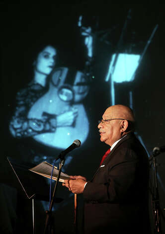 Dr. Tomas Ybarra-Frausto presents a slide show featuring the life of Eva Garza and other stars who are  remembered at the Esparanza Center on February 23, 2013. Photo: TOM REEL
