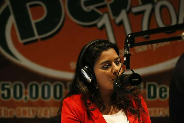 Shreeja Sharma, a Delhi-born radio host, says goodbye to her listeners on her morning show Desi Superdrive on Friday, Feb. 22. She offers her listeners a mix of Bollywood music and conversation in Hindi and English. Photo: James Tensuan, The Chronicle