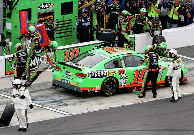Danica Patrick pits for fuel and tires during the NASCAR Daytona 500 Sprint Cup Series auto race at Daytona International Speedway, Sunday, Feb. 24, 2013, in Daytona Beach, Fla. Photo: David Graham