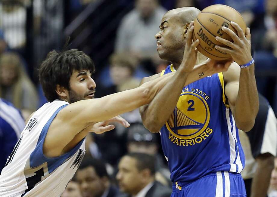 Despite Ricky Rubio's tenacious defense, Jarrett Jack led the Warriors to victory. Photo: Jim Mone, Associated Press