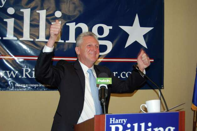 Harry Rilling gives a thumbs up at the conclusion of his speech to announce his bid for mayor at the Hilton Garden Inn on Sunday. Photo: Contributed Photo