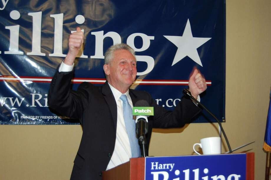 Harry Rilling gives a thumbs up at the conclusion of his speech to announce his bid for mayor of Norwalk, Conn., at the Hilton Garden Inn on Sunday, Feb. 24, 2013. Photo: Staff File Photo