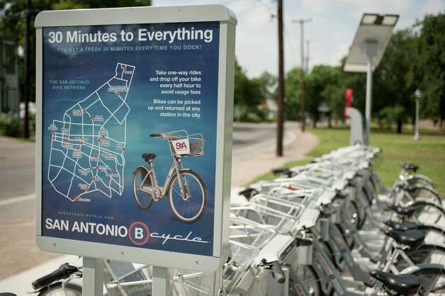 B-cycle station at SAHA Park, photographed Thursday, June 7, 2012, in San Antonio. Photo: DARREN ABATE, FOR THE EXPRESS-NEWS / SAN ANTONIO EXPRESS-NEWS