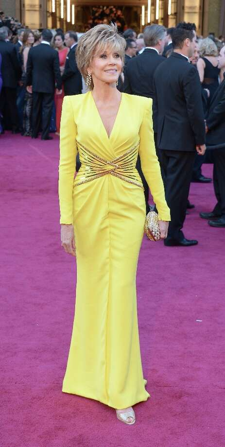 Actress Jane Fonda arrives on the red carpet for the 85th Annual Academy Awards on February 24, 2013 in Hollywood, California. AFP PHOTO/JOE KLAMARJOE KLAMAR/AFP/Getty Images Photo: JOE KLAMAR, AFP/Getty Images / AFP