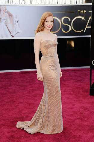 Jessica Chastain selected a strapless copper Armani Privé. Photo: Jason Merritt, Getty Images