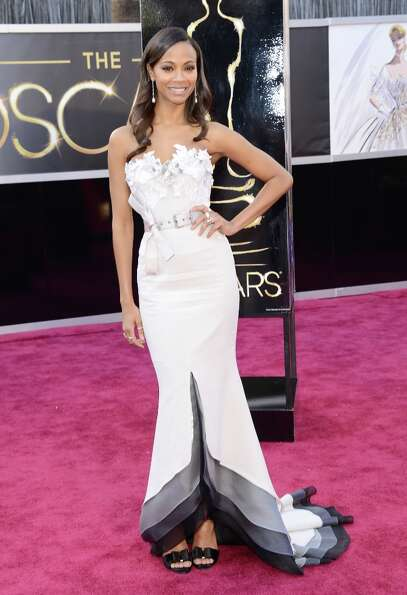 Actress Zoe Saldana arrives at the Oscars at Hollywood & Highland Center on February 24, 2013 in Hol