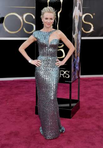 Naomi Watts in Armani Privé gown with an abstract cutout neckline. Photo: John Shearer, Associated Press / Invision