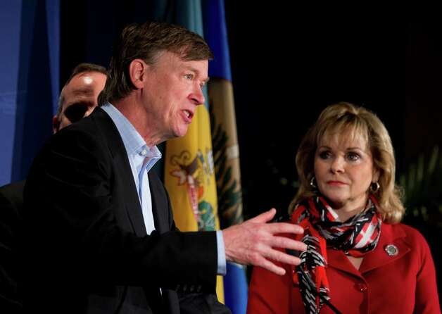We're super-duper sick of the gridlock in Washington. Here Colorado Gov. John Hickenlooper, seen with National Governors Association Vice Chairman Gov. Mary Fallin of Oklahoma, right, and NGA Chairman Gov. Jack Markell of Delaware, obscured, beg for a resolution at the opening news conference of the NGA Winter Meeting in Washington on Saturday.