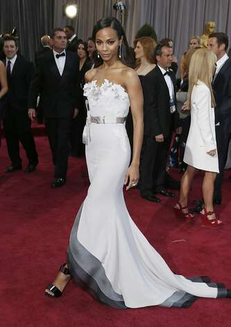Actress Zoe Saldana arrives at the Oscars at the Dolby Theatre on Sunday Feb. 24, 2013, in Los Angeles. (Photo by Todd Williamson/Invision/AP) Photo: Todd Williamson, Associated Press