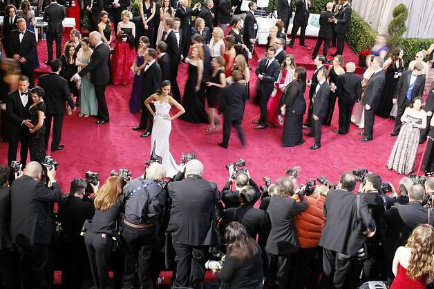 Zoe Saldana, an actress, prior to the 85th Academy Awards ceremony, in front of the Dolby Theatre in Los Angeles, Feb. 24, 2013. (Noel West/The New York Times) Photo: Noel West, New York Times