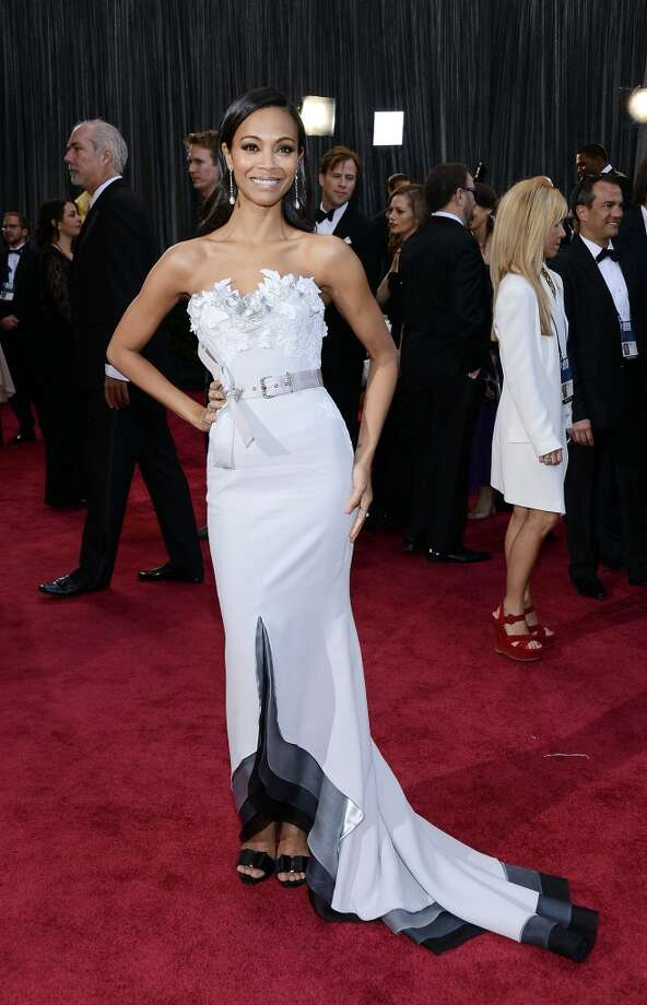 HOLLYWOOD, CA - FEBRUARY 24:  Actress Zoe Saldana arrives at the Oscars at Hollywood & Highland Center on February 24, 2013 in Hollywood, California.  (Photo by Michael Buckner/Getty Images)