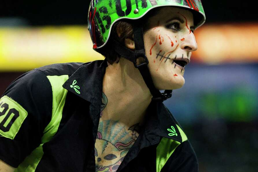 HammonDa Bone, of the Sugar Skulls, whips around the track during the season opener of the Banked Tr